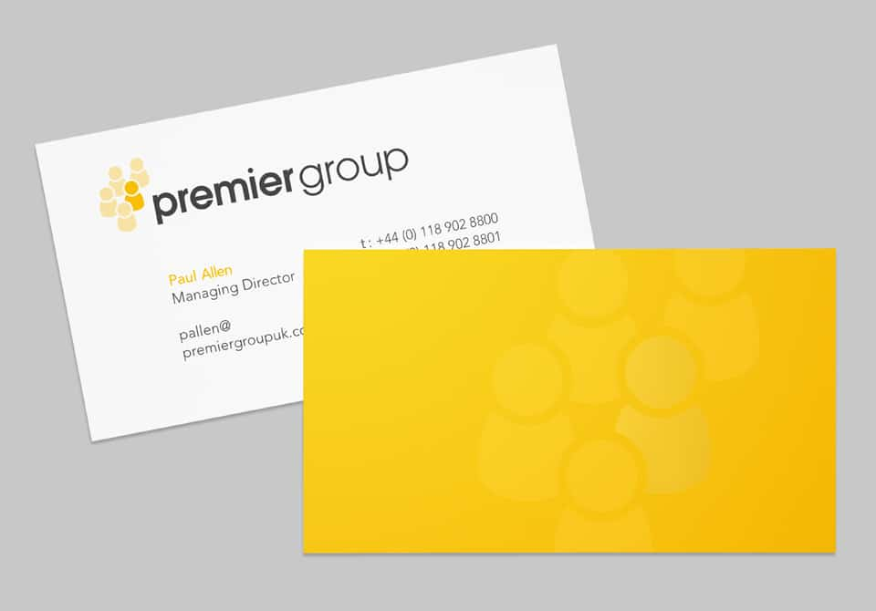 Yellow and white business cards