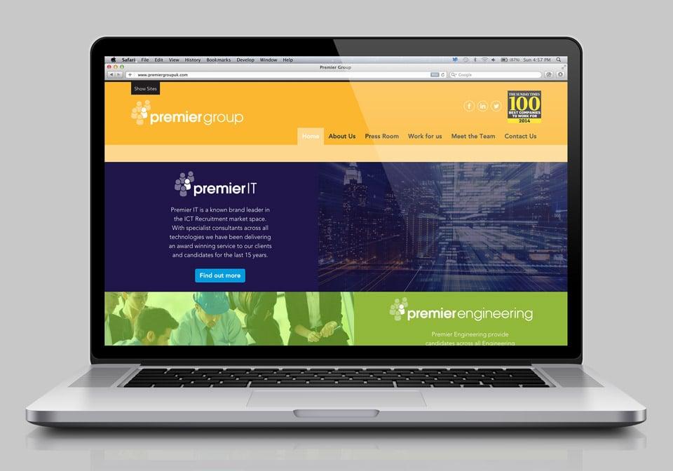 Premier website on screen