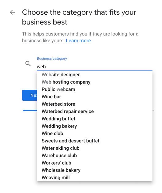 Google My Business - add category